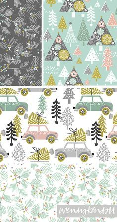 gorgeous new designs are by Wendy Kendall print & pattern Christmas Paper, Christmas Design, Christmas Crafts, Christmas Patterns, Pattern Paper, Fabric Patterns, Print Patterns, Christmas Pattern Background, Xmas 2015