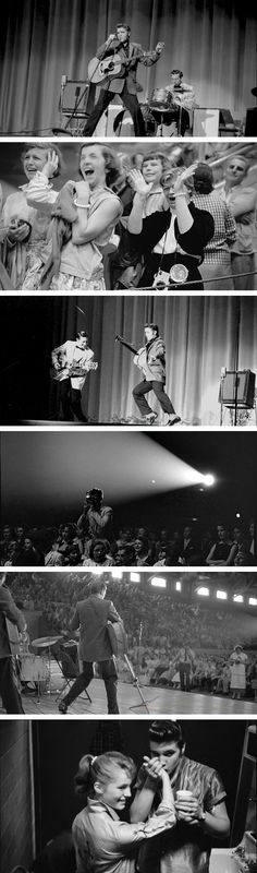Elvis Presley photographed in concert in Dayton and Columbus Ohio, May 26th and 27th, 1956.