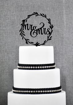 Rustic Wedding Cake Toppers, Rustic Mr and Mrs Topper, Laurel wedding cake topper with Mr and Mrs with Choice of Color and Glitter (T280) by ChicagoFactory on Etsy https://www.etsy.com/au/listing/281013016/rustic-wedding-cake-toppers-rustic-mr