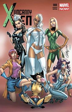 This Jeff Scott Campbell variant cover for Uncanny X-Men 008 has some of the X-Women cosplaying as others (Rogue as Storm, Storm as White Queen, White Queen as Phoenix, Rachel Summers as Jubilee, Jubilee as Wolverine and Psylocke as Dazzler) Marvel Women, Marvel Girls, Comics Girls, Marvel Art, Marvel Dc Comics, Marvel Heroes, Captain Marvel, Comic Book Artists, Comic Book Characters