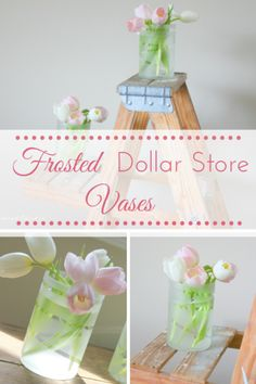 DIY Frosted Dollar Store Vases | making it in the mountains