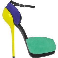 Giuseppe Zanotti Color Block Patent Leather & Suede Platform Sandal ($850) ❤ liked on Polyvore