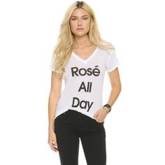 Wildfox Rose All Day Easy Tee ($55) ❤ liked on Polyvore featuring tops, t-shirts, clean white, short sleeve v neck t shirt, white short sleeve t shirt, rose t shirt, v-neck tops and short sleeve v neck tee