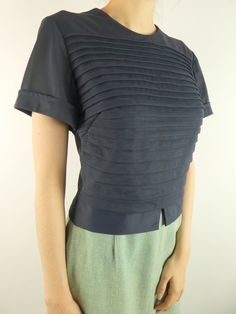 789570296a21ae VINTAGE NAVY BLOUSE 1960s Pintucks Back Buttons Majorette Size Small Navy  Blouse