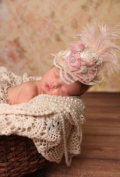 Vintage Pink and Cream Mini Top Hat for Newborn to Adult, Baby Crown Hat