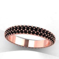 rose gold wedding band in black diamonds. style 6RGBLE. $1,575.00, via Etsy.