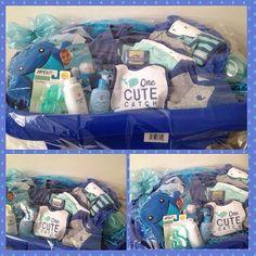 """Blue """"cute catch"""" baby boy gift basket w/tub"""