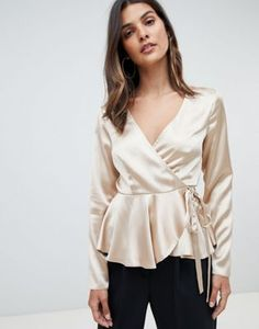 Browse online for the newest ASOS DESIGN long sleeve wrap top in satin with pephem styles. Shop easier with ASOS' multiple payments and return options (Ts&Cs apply). Long Sleeve Wrap Top, Satin Top, Satin Blouses, Blouse Outfit, Fashion Line, Blouse Styles, Blouses For Women, Fashion Outfits, Clothes