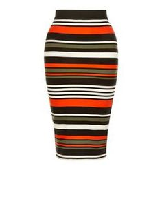 Petite Multicoloured Stripe Midi Skirt | New Look