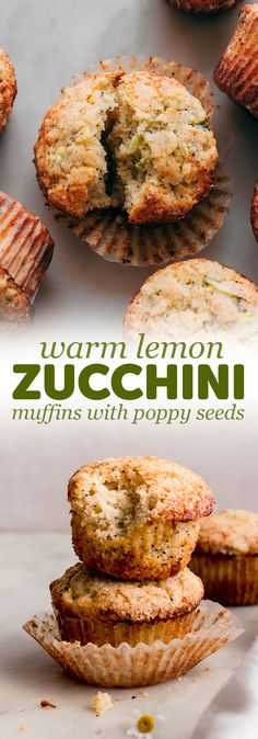 Perfectly tender, warm lemon zucchini muffins that would be great with hot tea or coffee. My zucchini muffins are loaded with buttermilk and spices! Lemon Zucchini Muffins, Zucchini Muffin Recipes, Lemon Poppyseed Muffins, Healthy Muffin Recipes, Healthy Muffins, Gourmet Recipes, Healthy Snacks, Snack Recipes, Cooking Recipes