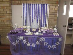 "winter, snowmen, snowflakes, purple and white / Birthday ""Ciara's Winter ""One""derland"" 