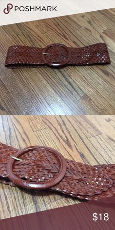 """Anthropologie Wide Leather Belt Braided, 100% Leather belt Flexible sizing-can be buckled anywhere along the braid. Length: 36"""" Width: 3"""" Excellent condition-worn only twice. Anthropologie Accessories Belts"""