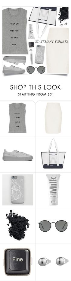 """OOTD - Slogan Tee"" by by-jwp ❤ liked on Polyvore featuring Rebecca Minkoff, River Island, Puma, State, MILK MAKEUP, Christian Dior, Ray-Ban, RecycRing, Eddie Borgo and Morgan Lane"
