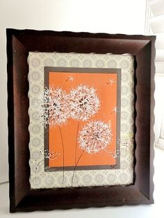 Original Framed Painted Dandelions on Orange, Home Decor, Gray, White, Art, Gift, Orange and Gray, Espresso Brown frame, 8x10. $28.00 USD, via Etsy.