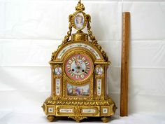 Antique clock Napoleon III, French, gilt bronze and pink celeste ground Sèvres style mantel clock French Clock, Napoleon Iii, Antique Clocks, Online Art Gallery, French Antiques, Decor, Vintage Watches, Decoration, Decorating