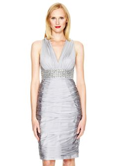 ideeli | CARMEN MARC VALVO Rouched Cocktail Dress with Studded Waist