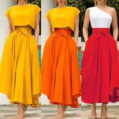 Womens Pleated Long Maxi Skirts Cocktail Party High Waist A Line Solid Bowknot Elastic Gypsy Costume Flared Swing Plain Skirt Long Maxi Skirts, Pleated Skirt, High Waisted Skirt, Look Fashion, Womens Fashion, Latest Fashion, Steampunk Fashion, Fashion Spring, Gothic Fashion