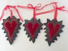 One embroidered felt heart by JackieCardytextiles on Etsy