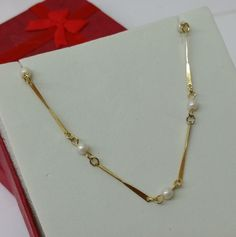 Vintage Halsschmuck - Vintage Gliederkette Silber vergoldet Perlen SK581 - ein Designerstück von Atelier-Regina bei DaWanda