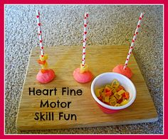An easy way for your little one to practice fine motor skills~ heart themed!