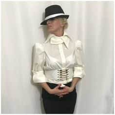 Excited to share this item from my shop: White Puff- Shoulder Cotton Blouse Shirt Gothic Victorian Style Blouse With Collar Details Satin Blouses, Cotton Blouses, Shirt Blouses, Sexy Blouse, Blouse And Skirt, White Cotton Blouse, Ruffle Blouse, Beautiful Blouses, Victorian Fashion