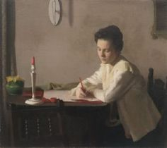 """Bessie Brooks Writing,"" R.H. Ives Gammell, oil,  22 x 27"", Groton School."