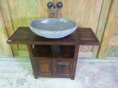Balinese River Stone Rock Bathroom Round Basin Sink Bowl Large  66cm