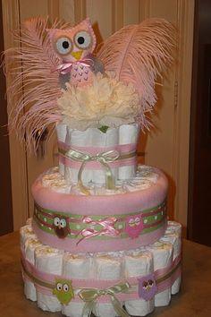 Pink and Green Owl Diaper Cake by @Joanna Osborne
