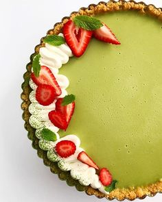 """Strawberry Matcha Tart"" recipe, by L'Ecole Valrhona Pastry Chef Sarah Tibbetts. #green_tea #desserts"