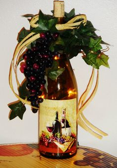 Wine Grapes Lighted Wine Bottle Accent Decor Light Handcrafted | eBay