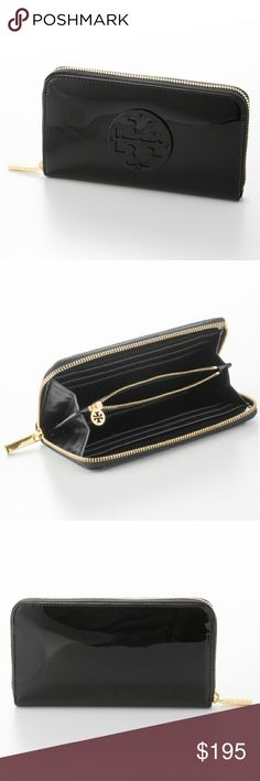 "Tory Burch Black Patent Leather Continental Wallet NWT-RETAIL. 100% AUTHENTIC (*I DO NOT SELL OR BUY ANY COUNTERFEIT/REPLICAS*)!!! Black, glossy patent leather continental Tory Burch wallet. Features gold hardware-gold logo engraved zip pull, zip around closure. Plenty of interior compartments to safely store your belongings. One center zip closure pocket, 8 credit card slots, 2 bill pockets. 7 1/2in W x 4""H x 1""D. Dustbag included. DISCOUNTED BUNDLES AND FREE GIFT WITH EVERY PURCHASE! Tory…"