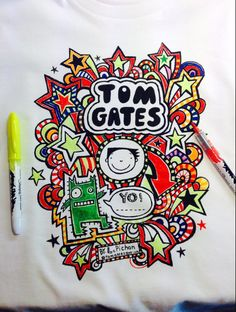 And here is one of the new TOM GATES T Shirts after I had a go at colo… World Book Day Costumes, Book Character Costumes, Book Week Costume, Tom Gates, World Book Day Ideas, Fish Costume, Love Doodles, Art Diary, Kids Story Books