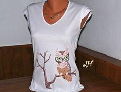 Malované tričko sova