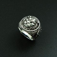 LION KING 925 STERLING SILVER US Size 10.5 BIKER ROCKER GOTHIC RING #Handmade