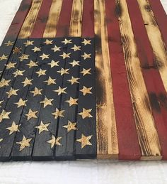 Wooden American Flag with Carved Stars and by RileysRusticDesigns