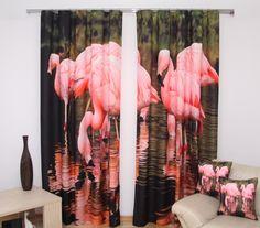 Závěsy na okno 3D růžovo černé barvy s plameňáky