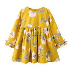 2017 Autumn Floral Girls Dresses Flower Printed Long Sleeves Bow Baby Girl Dress Vintage Kids Princess Dress For Party Toddler Dress, Baby Dress, The Dress, Dress Long, Dress Girl, Knot Dress, Hot Outfits, Kids Outfits, Baby Outfits