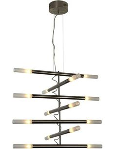 Trend Lighting's Caveletto fixtures come in six-, 10- or 14-light (shown) configurations, with bars that can swivel in a multitude of angles. A single-light pendant is also avaialble in the series. www.tlighting.com