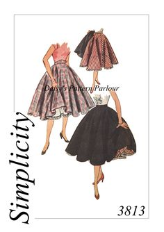 Simplicity 3813 Full Circle Skirt, 1950s. High quality vintage sewing patterns digitally remastered by Daisy's Pattern Parlour. Vintage patterns are often offered as a graded alternative to offer many more sizes on one single pattern - order yours today, sew at the weekend!
