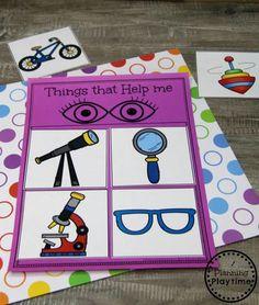 Sense of Sight Sorting Game for Preschool