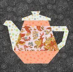 Tea Pot quilt block paper pieced quilt pattern PDF by BubbleStitch Patchwork Quilting, Paper Pieced Quilt Patterns, Quilt Block Patterns, Applique Patterns, Pattern Blocks, Quilt Blocks, Easy Sewing Projects, Quilting Projects, Quilting Designs