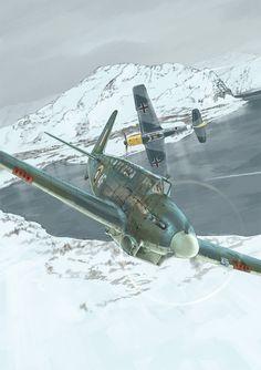Fairey Fulmar perseguido por un Bf-109