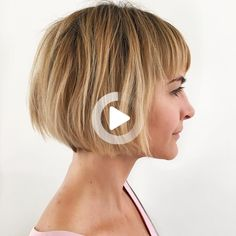 And it works on every texture. #bobhairstyles Blonde Bob With Bangs, Short Blonde Bobs, Bob Hairstyles With Bangs, Popular Short Hairstyles, Summer Haircuts, Summer Hairstyles, Short Hair Styles, Hair Cuts, Texture