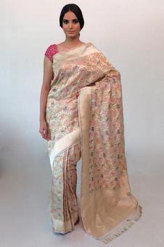 Beige banarasi katan silk shikargah saree