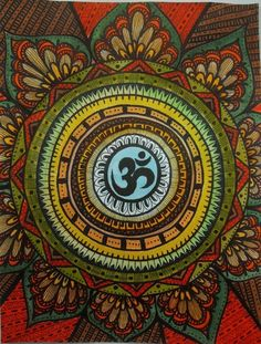Mandala art ॐ AUM ~ Sacred symbol, ancient sanskrit word.It is believed to be the basic sound of the world and to contain all other sounds. The sound resonates cosmic vibration and cosmic light