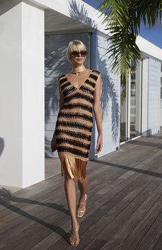 Crochet Beach Dress, Crochet Bikini, Hairpin Lace, Fringe Dress, Bare Foot Sandals, Crochet Fashion, Crochet Designs, Plus Size Fashion, Beachwear