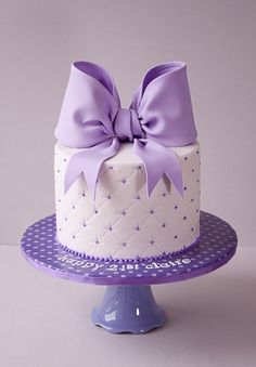 Beautiful Cake Pictures: Quilted Purple Bow Birthday Cake - Birthday Cake, Cakes with Ribbons, Purple Cakes - Gorgeous Cakes, Pretty Cakes, Cute Cakes, Amazing Cakes, Bow Cakes, Cupcake Cakes, Cake Fondant, Simple Fondant Cake, Marshmallow Fondant