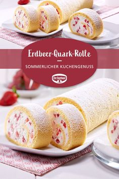 Erdbeer-Quark-Rolle Erdbeer-Quark-Rolle: Eine fruchtige Biskuitrolle mit Erdbeeren und Quark The post Erdbeer-Quark-Rolle appeared first on Erdbeer Rezepte. Dessert Sans Gluten, Bon Dessert, Healthy Dessert Recipes, Easy Desserts, Cake Recipes, Pasta Recipes, Dessert Simple, Desserts Sains, Food Cakes