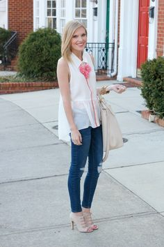 Today I'm sharing the look I wore on my birthday! I love a good, flowy top, especially during the spring months. I was shopping around at The Impeccable Pig in Raleigh one afternoon when I spotted this flawy, feminine top. It was love at first site, seriously! The crisp whiteness, the rep/pink piping & the …