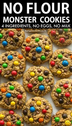 4 Ingredient No Flour Monster Cookies recipe- Soft, chewy and ready in 12 minutes! No mixer, no fancy gadgets needed- They use EASY pantry staple ingredients with LOADS of substitution options! Gluten Free Treats, Gluten Free Baking, Gluten Free Desserts, Dairy Free Recipes, Baking Recipes, Gluten Free No Bake Cookies Recipe, Healthy Gluten Free Snacks, Dairy Free Cookies, No Flour Cookies